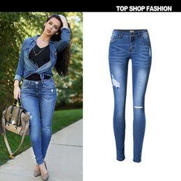 Wholesale The new arrival europe and the United States top selling women s fashion slim hole low waist elastic beggar Cat Blue Denim Jeans