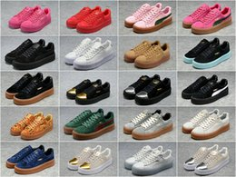 Wholesale 2016 Rihanna x Puma Suede Creeper Camo Black Gold tiple White Women Men Running Shoes Fashion Pumas Rihanna shoes sneakers