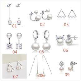 Mixed Styles 925 Sterling Silver Plated Pearl Tassel Stud Earrings Ear Cip For Women Fashion Jewelry