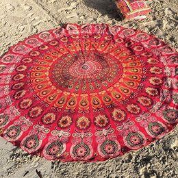 High Quality Bohemian Geometric Printed Indian Mandala Round Roundie Beach Towel Throw Tapestry Hippie Yoga Mat Shawl 15 Designs 50pcs