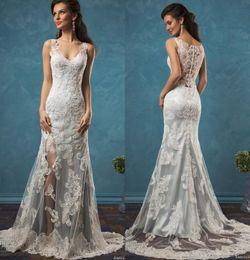 Blue Satin Amelia Sposa Lace Wedding Dresses Sheath Split Summer Beach 2019 Bridal Gowns V Neck Covered Button Sweep Train