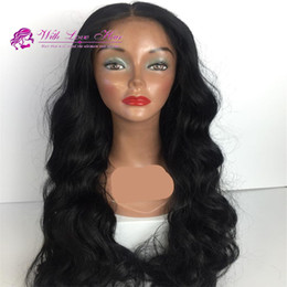 Wholesale Middle Part Glueless lace front wig synthetic hair for black women wavy style heat resistant front lace wig synthetic hair