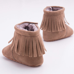 Wholesale 2016 Fashion Baby Fringe Style Boots Dark Coffee Long Tassel Design Baby Shoes Soft Sole Non slip Infant Toddles Winter Boots