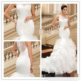 Wholesale 2017 Vintage Wedding Dresses Custom Made Real Pic Beaded Sequins Bridal Gowns Jewel Sleeveles Ruffled Buttom Weddings Gown Court Train