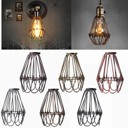 Wholesale Retro Vintage Industrial Lamp Covers Pendant Trouble Light Bulb Guard Wire Cage Ceiling Fitting Hanging Bars Cafe Lamp Shade