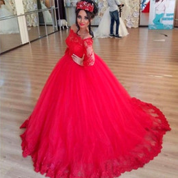 Charming Red Ball Gown Prom Dresses Illusion Long Sleeves Lace Applique Stunning Evening Gowns Custom Made Dubai Abaya Dress