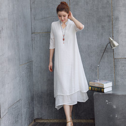 Women dress Summer dress Plus-size False two-piece solid color Chinese style Loose and asymmetrical dress Casual Dresse
