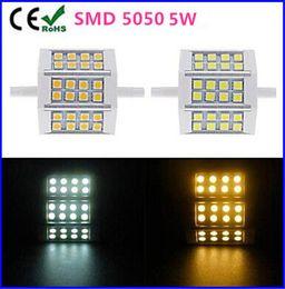 Dimmable R7S LED Bulb Lamp Light 5W 24 LEDs 5050 SMD 78mm 85-265V 110V 120V 220V AC replacement for Halogen Floodlight Lamp