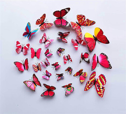 2016 12PCS 3D PVC Magnet Butterflies DIY Wall Sticker Cinderella butterfly Fashion 3d butterfly decoration Wall Sticker Home Decor posters
