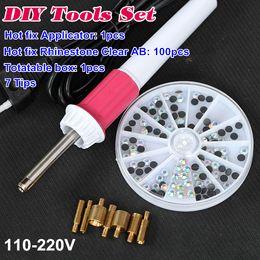Wholesale Best DIY Tools Set Fast Heating Hot Fix Applicator Wand Gun With Hotfix Rhinestones Iron On Crystal B2279