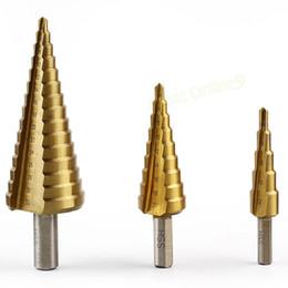 2016 forets en métal 3 étagés Pcs HSS fixés 4-12mm / 4-20mm / 4-32mm titane enduit de base Forets Metric Power Tool Perceuses Set Spiral Steel # FY10497 forets en métal à vendre