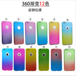 For iphone 7 case gradient rainbow colorful 360 Full Protect cases Tempered Glass screen protector cover for iphone 5 5s se 6s 7 plus sale