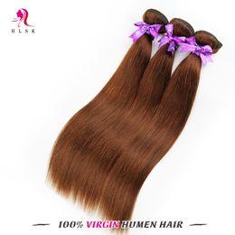 3pcs MALAYSIAN Brazilian Color Brown Hair Bundles Wholesale Straight Hair Extensions Color Brown Braiding Hair 3PCS Double Weft
