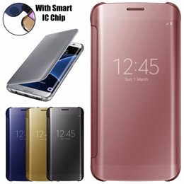 NEW For SAMSUNG GALAXY S7 EDGE G935 SMART MIRROR FLIP CASE COVER WALLET WITH BUILT IC CHIP