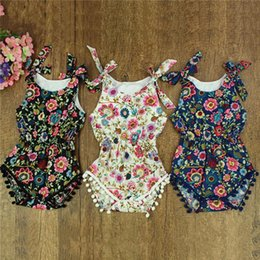 Little Girls Boutique Floral Romper ,Blossom Pattern Baby Girls Shower Gift Sunsuit ,Summer Newborn Tie Bow Straps Baby Clothes