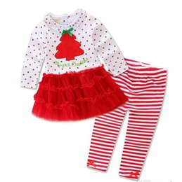 Wholesale Christmas baby girls Outfits Long sleeve Sweet Dots Tutu dress shirt pant set Children Christmas tree dress striped Free express