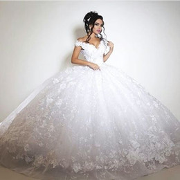 2018 Long Plus Size Ball Gown Chapel Wedding Dresses Illusion See Through Lace Off Shoulder Open Back Bridal Gowns
