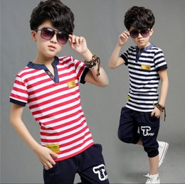 2018 new Korean children boys summer suit striped piece Fangbiao big virgin piece suit children explosion models