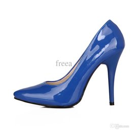 Wholesale Armoire Sales Big Size Yellow Blue Red Glossy Pointed Toe Super High Heels Women Nude Pumps Ladies Shoes A05