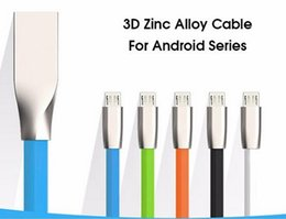 3D Zinc Alloy metal USB Cable micro usb 2.1A Fast Charging Data Sync Cable for smartphone samsung S7 NOTE 7