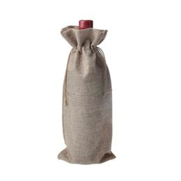 Wholesale Jute Wine Bottle Bags cmX36cm Champagne Bottle Covers Linen Drawstring Christmas Wedding Party Gift Pouches Packaging Bag ZA0903