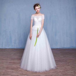 Wholesale Romantic Ball Gown Wedding Dresses Strapless Short Sleeve Lace Up Back vestido de noiva Eye Catching Bridal Gowns