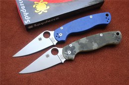 Wholesale Spyderco C81 Paramilitary Knife G Satin Plain Clip point C81GP2 Folding blade knife Thumb Hole gifts