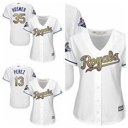 2017 dame ville Kansas City Royals # 13 Salvador Perez majestueux femmes maillots de base-ball blanc World Series Champions Gold programme cool maillots de dames de base dame ville à vendre
