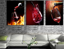 3 Piece Modern Kitchen Canvas Paintings Red Wine Cup Bottle Wall Art Oil Painting Set Bar Dinning Room Decorative Pictures