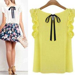 Collar Shirt Women Sleeve Shirt Lotus Leaf Pullover Bow Chiffon Shirt Office Women's Chiffon Blouse New Design