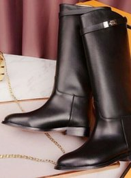 Wholesale Hot sale leather riding boots in black color genuine leather best quality