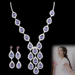 purple diamond drops set wedding bride necklace earings (spwhy) yuu