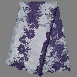Wonderful flower design white+purple African apparel material chemical water soluble lace fabric for party EW107-5