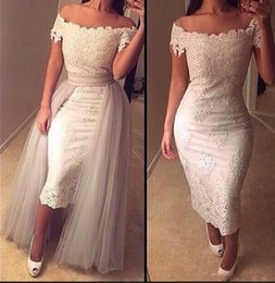 Wholesale 2017 New Off Shoulder Sheath Cocktail Dresses Lace Appliques Ankle Length Prom Dresses Arabic Evening Dresses with Detachable Overskirts