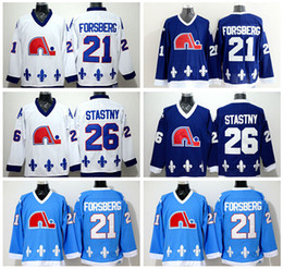 Quebec Nordiques Jerseys Ice Hockey 21 Peter Forsberg 26 Peter Stastny Jersey Home Blue Road Away White Embroider Logos