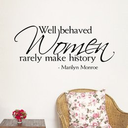 Wholesale Marilyn Monroe Quote well behaved women rarely make history Vinyl Wall Stickers Art Mural Home Decor Decal home decorations