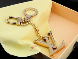 Wholesale 1 KEY HOLDERS BAG CHARMS INITIALES KEY HOLDER M65071 Shiny metal Key ring Gold silver