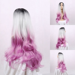 Wholesale Long Grey Wig Heat Resistant - New brand Natural Black grey pink Ombre Synthetic Curly Wig cosplay Kylie Jenner Long Blonde Lace Front Heat Resistant Wigs women