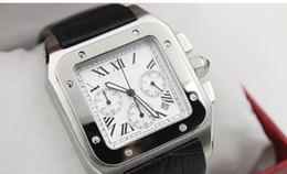 new Luxury quartz chrono 100 XL black leather band mens watches sport watch sapphire quality big dial
