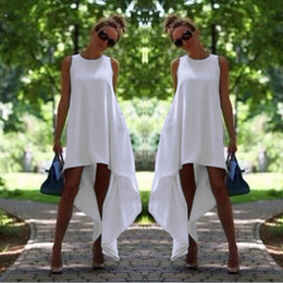 Wholesale Women Summer Bohemian Dress White Irregular Beach to Bar Loose Dresses Loose Flare Tunic Female Sleeveless Beachwear Boho Gowns Tunics