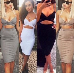 Wholesale Short Tight Sexy White Dresses - 2016 Sleeveless Sexy Bandage Package Hip Dresses Woman Nightclub Dresses Super Stretch Slim Short Tight Dresses S M L TOP1305