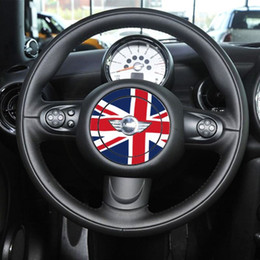 Wholesale New Generation National Flag Steering Wheel Sticker Fashion DIY Car Styling Cool Glue Union Jack Auto Cover for BMW MINI COOPER