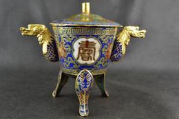 China Handwork Old Cloisonne Painting Flower Carving Dragon Incense Burner