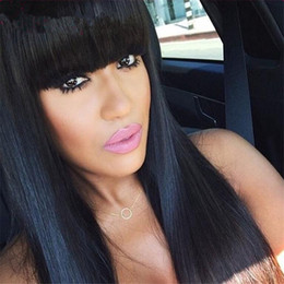 100% Brazilian Full Lace Human Hair Wigs With Bangs Glueless Lace Front Wig 150 Density Full Lace Wig For Black Woman