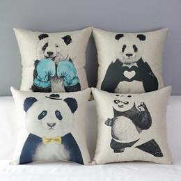 45cm The Blue boxer Black panda Cotton Linen Fabric Throw Pillow 18inch Handmade New Home Office Bedroom Decoration Sofa Back Cushion