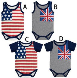 Wholesale-4th of July flag onesie for newborn baby boy and girl,stripe and stars baby body cotton Rompers
