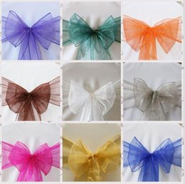 Wholesale Wedding Favor Sheer Organza Chair Covers Sashes Band cm x cm Ribbons Bow Party Banquet Event Tie Full Colors DHL Free Delivery