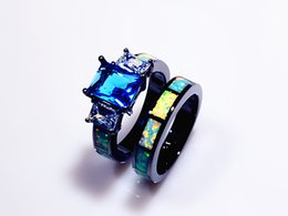 Double Rings Men & Women& Retail Fashion Fine White Fire Opal Rings with Blue Cubic Zirconia 10KT Black Gold Filled RMF16032612