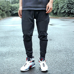 Fashion biker jogger pants slim push-up hip hop street high quality motorcycle casual taper pleated pants trousers Man