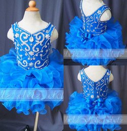 Real Image 2019 Blue Toddle Cupcake Mini Skirts Girls Pageant Gown Stunning Crystal Beaded Flower Girls Dress Party Birthday Dresses Custom